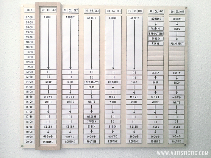 A large wooden weekly planner hanging on a white wall. It has columns for each weekday and rows for times in 30 minute increments. It is filled with signs creating a weekly schedule.
