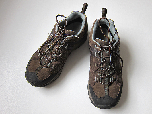 Brown leather lace up hiking shoes.