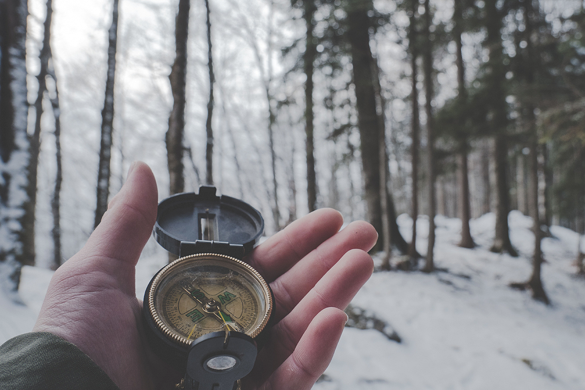 A hand holding a compass. In the background there is a snow covered forest.
