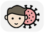 Head of a person with short brown hair and light skin, half overlapping an illustration of the Coronavirus.