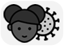 Black and white image of the head of a person with black hair, tied back into two puffy buns, and dark skin, half overlapping an illustration of the Coronavirus.