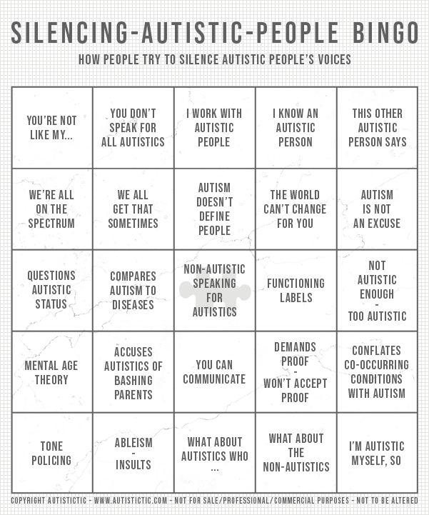 """Silencing-autistic-people"" bingo card, created by autistictic. Bingo fields are: ""YOU'RE NOT LIKE MY..."", ""YOU DON'T SPEAK FOR ALL AUTISTICS"", ""I WORK WITH AUTISTIC PEOPLE"", ""I KNOW AN AUTISTIC PERSON"", ""THIS OTHER AUTISTIC PERSON SAYS"", ""WE'RE ALL ON THE SPECTRUM"", ""WE ALL GET THAT SOMETIMES"", ""AUTISM DOESN'T DEFINE PEOPLE"", ""THE WORLD CAN'T CHANGE FOR YOU"", ""AUTISM IS NOT AN EXCUSE"", ""QUESTIONS AUTISTIC STATUS"", ""COMPARES AUTISM TO DISEASES"", ""NON-AUTISTIC SPEAKING FOR AUTISTICS"", ""FUNCTIONING LABELS"", ""NOT AUTISTIC ENOUGH - TOO AUTISTIC"", ""MENTAL AGE THEORY"", ""ACCUSES AUTISTICS OF BASHING PARENTS"", ""YOU CAN COMMUNICATE"", ""DEMANDS PROOF - WON'T ACCEPT PROOF"", ""CONFLATES CO-OCCURRING CONDITIONS WITH AUTISM"", ""TONE POLICING"", ""ABLEISM - INSULTS"", ""WHAT ABOUT AUTISTICS WHO ..."", ""WHAT ABOUT THE NON-AUTISTICS"", and ""I'M AUTISTIC MYSELF, SO"". Copyright notice on the bottom reads ""COPYRIGHT AUTISTICTIC - WWW.AUTISTICTIC.COM - NOT FOR SALE/PROFESSIONAL/COMMERCIAL PURPOSES - NOT TO BE ALTERED"""