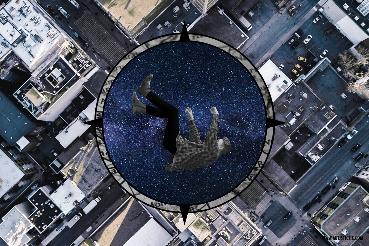 A falling human being in front of a circle of a starry night sky. Behind the person and the night sky, there is an aerial view of a city with buildings and roads.