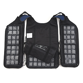 A cooling vest laying flat, inside up. The vest has three panels of ice cube packs lining the inside.